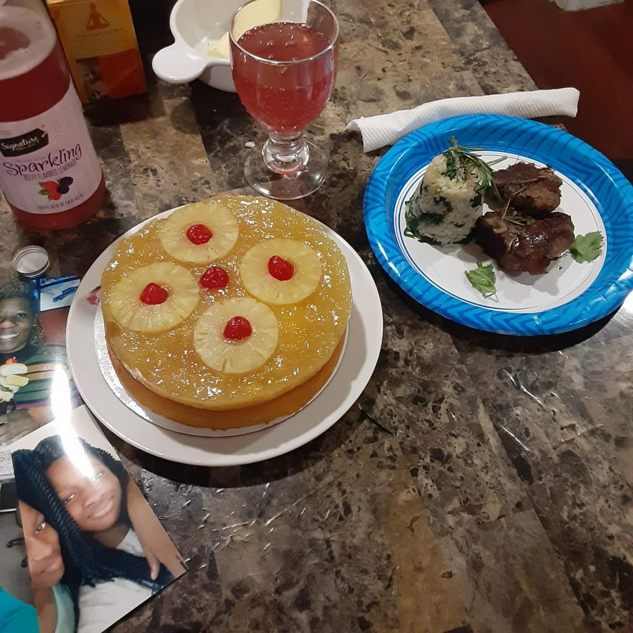The kids did the cooking for Mother's Day: lamb chops, fancy spinach and rice, and – in honor of Mom's preferences – a cake that was not  chocolate.